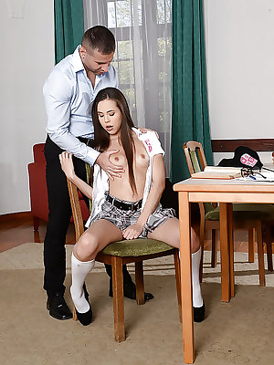 Young schoolgirl Abril fingering her pussy while taking anal from teacher
