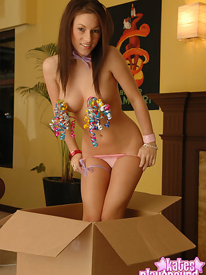Flighty brunette Kate celebrates her birthday in sexy outfit