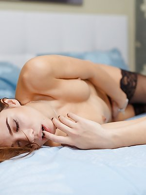 Teen first timer Maya Samara gets naked and rides her beaded dildo on bed