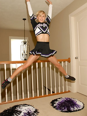 Cute solo girl Teen Kasia exposes herself in her cheer leading outfit