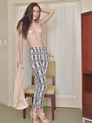 Thin amateur model Victoria Spade slowly undressing before showing pink vagina