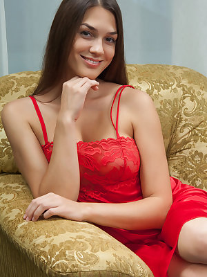 Delicious babe in a red nightgown Vanda B shows off her perfect boobs