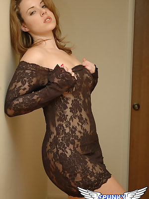 Hottie Kerie Hart in lace dress removes black panties to flash naked upskirt
