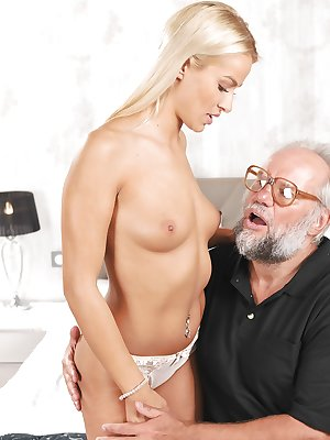 Gorgeous young blonde Chary Kiss coerced into fucking a really old man
