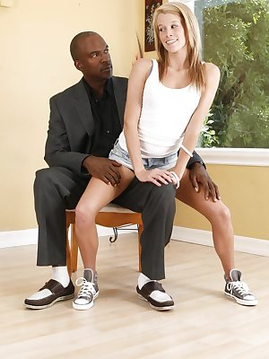 Young hottie Aiden Aspen tries interracial sex with a an older black man