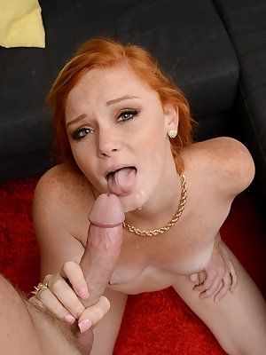 Teen redhead Alex Tanner licking and jerking big cock to induce a cumshot