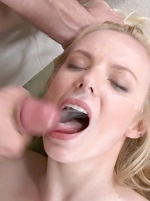 Teen Sunny Marie is getting a huge cumshot in her wet mouth