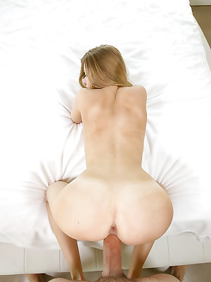 Petite blonde Trisha Parks spreads pink pussy for massive cock