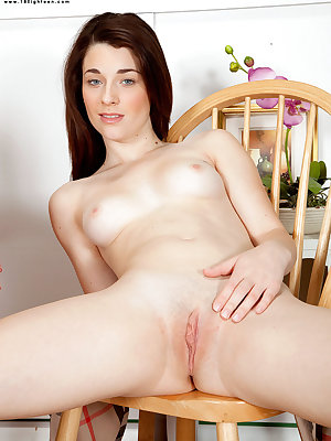 Young girl Lacey Channing masturbates in white socks after eating breakfast