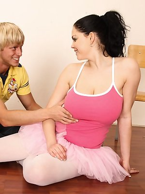 Young brunette dancer with huge boobs bangs her dance instructor