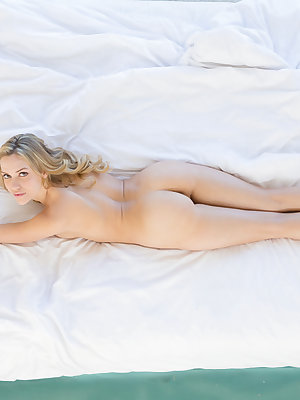 Hot young girl Mia Malkova slides lace bra and panties off in bedroom