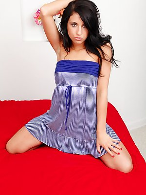 Flexy brunette with petite curves undressing and teasing her honey pot