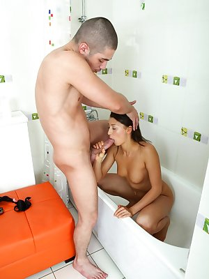 Bath time for this brunette babe means a hard ass fuck and a cum filled hole
