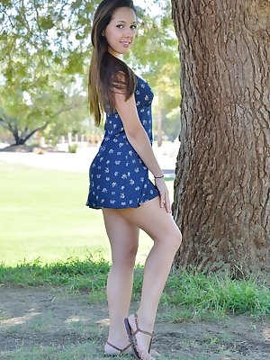 Sexy teen gives nude upskirt outdoors & spread naked to show small tits