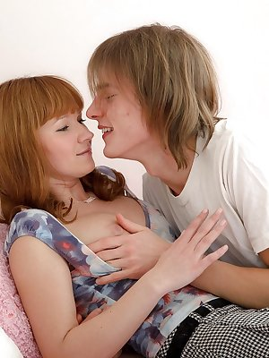 Young redhead Rosanna and her boyfriend fuck on hr bed with parents out of way
