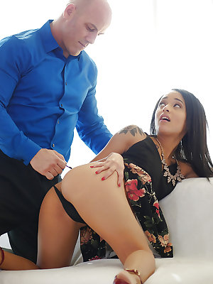 Young Latina Holly Hendrix taking facial cumshot after banging cock