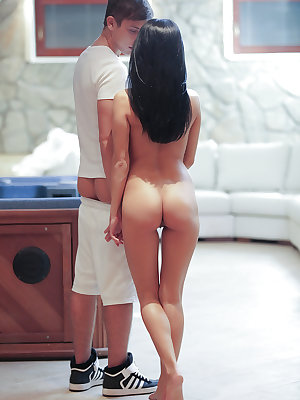 Sexy dark haired girl Mindy bends over for her first ass fucking