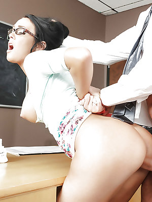 Bound schoolteacher Gabriella Salvatore taking a rough anal fuck doggystyle