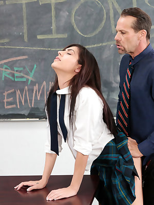 Teen schoolgirl Audrey Royal seduces her teacher to get out of detention hall