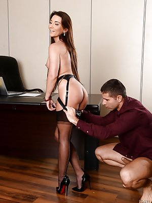 Sexy office babe Julie Skyhigh takes a cumshot in her mouth at work