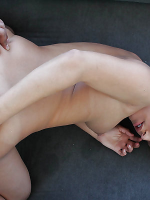 Sensual blonde Kennedy fucks in her wide vagina in the bedroom