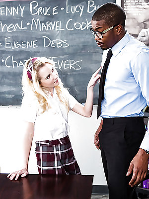 Teen schoolgirl taking hardcore interracial fucking from teacher's BBC