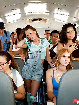 Sexy teen with tiny breasts Kacy Lane gives nice cock sucking adventure in bus