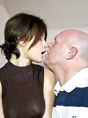 Young Veronica Morre licks oldman cock & fucks doggystyle with tits hanging