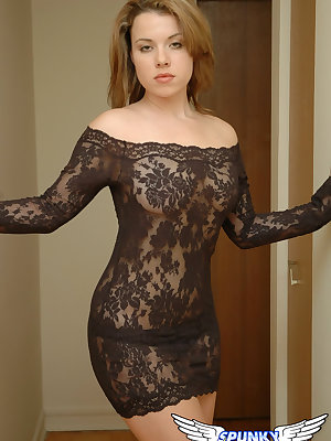 Teen first timer Kerie Hart takes off lace dress for nude poses