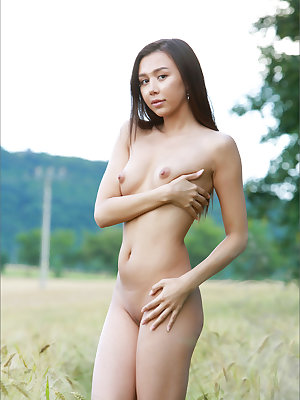 Naked Asian girl lies down in a field of wheat to play with her shaved pussy