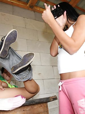 Teen dykes Nicoletta H and Susan G film each other masturbating in feed room