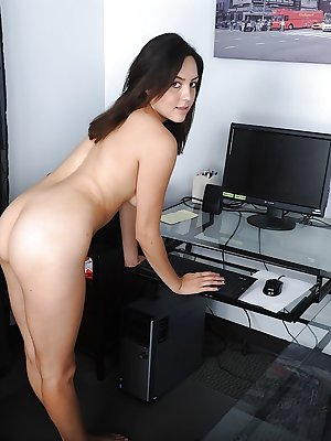 Young brunette first timer Leanna Lass showing off oink cunt after undressing