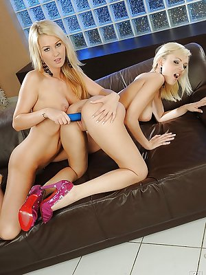 Blonde European teens Antonya and Bianca pussy fucking with toys