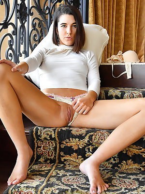 Brunette Miki flashes public panty upskirt & jams chili peppers in her twat