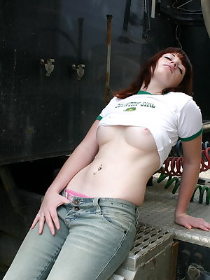 Lovely amateur chick Barbie flashes her beautiful breasts in public