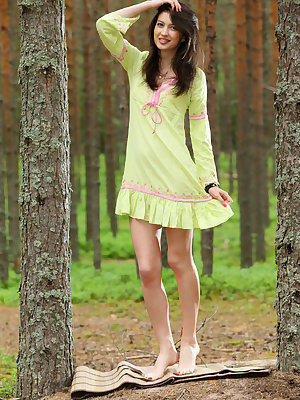 Sweet teen Ganna A cats her dress aside to model naked in the forest